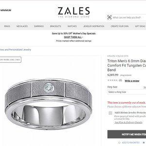 NWOT Men's 6.00mm diamond accent Tungsten ring